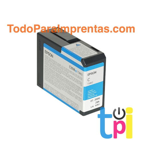 Tinta Epson StylusPro 3800/3880 Cían 80 ml.