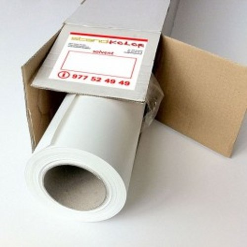 Vinilo blanco brillo electroestático 150 mc adhesión doble cara 1372mm x 25m